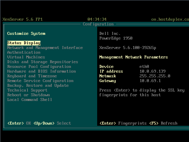 XenServer Configuration Screen